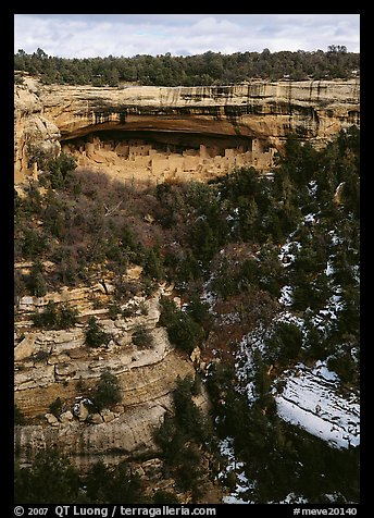Cliff Palace seen from across valley in winter. Mesa Verde National Park (color)