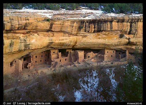 Spruce Tree house and alcove in winter. Mesa Verde National Park (color)