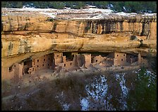 Spruce Tree house and alcove in winter. Mesa Verde National Park, Colorado, USA.