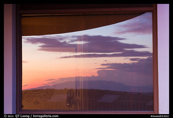 Mesa at sunset, Far View visitor center window reflexion. Mesa Verde National Park (color)