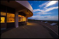 Far View visitor center terrace by moonlight. Mesa Verde National Park ( color)