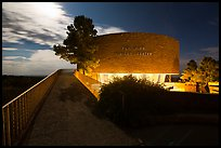 Far View visitor center entrance by moonlight. Mesa Verde National Park ( color)