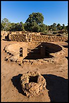Oven and kiva, Coyote Village. Mesa Verde National Park, Colorado, USA. (color)