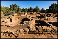 Ancestral Puebloan village with multiple rooms and kivas. Mesa Verde National Park, Colorado, USA. (color)