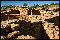 Mesa top  Ancestral Puebloan ruin. Mesa Verde National Park, Colorado, USA. (color)