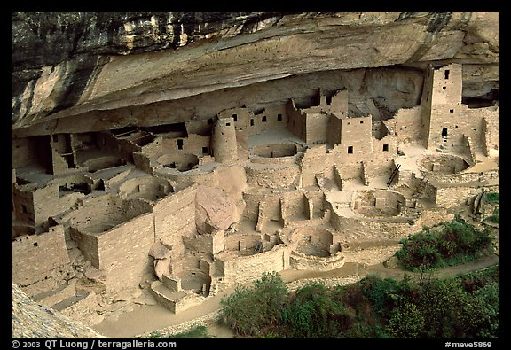 Cliff Palace sheltered by rock overhang. Mesa Verde National Park (color)