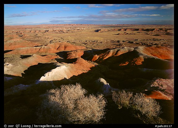 Ridges over badlands of Painted Desert, morning. Petrified Forest National Park, Arizona, USA.
