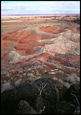 Mud, sandstone and volcanic ash color  painted desert, morning. Petrified Forest National Park ( color)