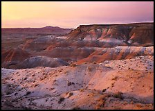 Badlands at sunset, Painted Desert. Petrified Forest National Park, Arizona, USA.