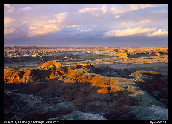 Painted desert seen from Chinde Point, stormy sunset. Petrified Forest National Park (color)