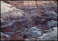 Colorful bentonite badlands, Blue Mesa. Petrified Forest National Park, Arizona, USA.