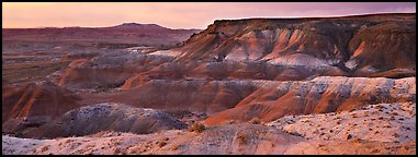 Painted Desert badlands at sunset. Petrified Forest National Park, Arizona, USA.