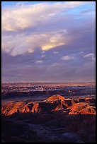 Painted desert seen from Chinde Point, stormy sunset. Petrified Forest National Park, Arizona, USA.