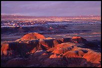 Multi-hued badlands of  Painted desert seen from Chinde Point. Petrified Forest National Park, Arizona, USA.