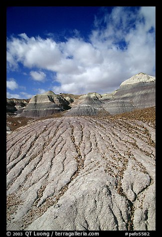 Eroded badlands of  Chinle Formationon, Blue Mesa. Petrified Forest National Park (color)