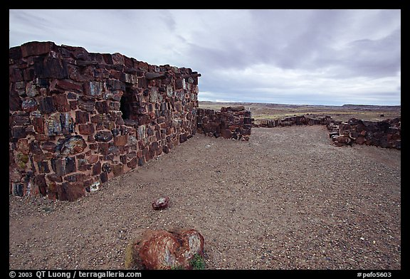 Agate House, reconstitution of native house made of petrified wood. Petrified Forest National Park, Arizona, USA.