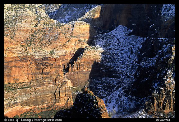Cliffs near Hidden Canyon from above, late winter afternoon. Zion National Park, Utah, USA.