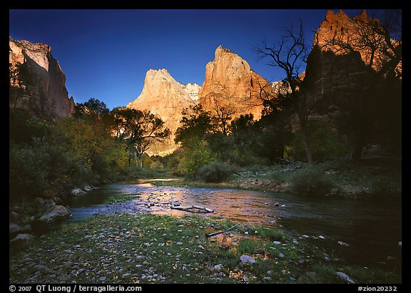 Virgin River and Court of the Patriarchs at sunrise. Zion National Park (color)