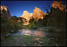 Virgin River and Court of the Patriarchs at sunrise. Zion National Park, Utah, USA.