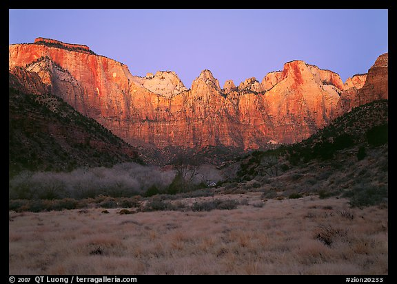 West temple view, sunrise. Zion National Park (color)