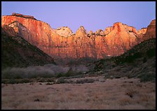 West temple view, sunrise. Zion National Park, Utah, USA.