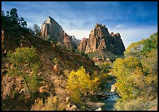 Court of the Patriarchs and Virgin River, afternoon. Zion National Park, Utah, USA. (color)