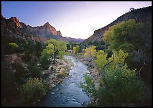 Virgin River and Watchman catching last sunrays of the day. Zion National Park, Utah, USA.