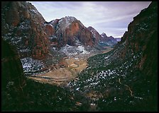 Zion Canyon from  West Rim Trail, stormy evening. Zion National Park, Utah, USA.