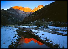 Snowy Pine Creek and Towers of the Virgin, sunrise. Zion National Park, Utah, USA.