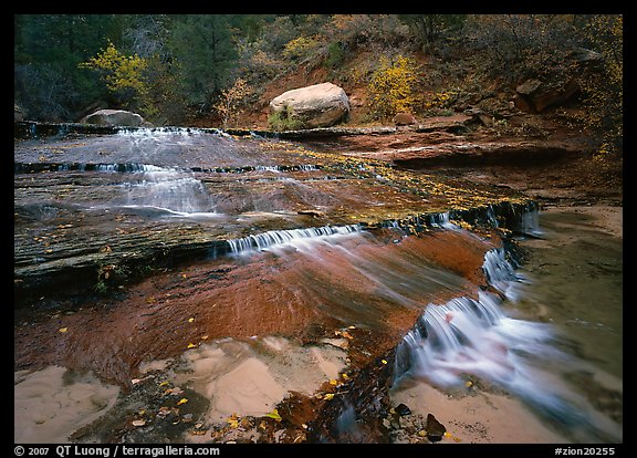 Terraced cascades in autumn, Left Fork of the North Creek. Zion National Park (color)