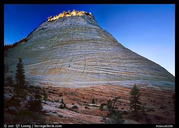 Checkerboard Mesa with top illuminated by sunrise. Zion National Park (color)