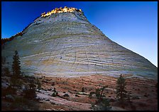 Checkerboard Mesa with top illuminated by sunrise. Zion National Park, Utah, USA.