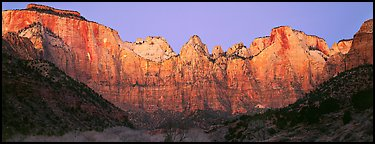 Towers of the Virgin cliffs at dawn. Zion National Park (