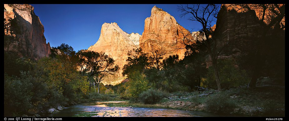 Court of the Patriarchs and Virgin River. Zion National Park (color)