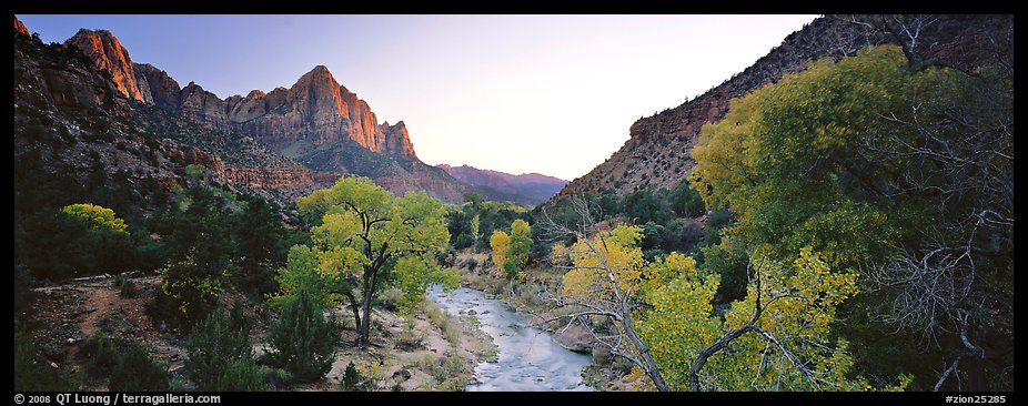 Virgin River, trees, and Watchman at sunset. Zion National Park (color)