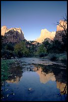 Court of  Patriarchs reflected in the Virgin River, sunrise. Zion National Park, Utah, USA. (color)