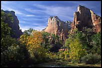 Court of the Patriarchs in autumn. Zion National Park, Utah, USA.