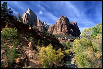 Court of the Patriarchs and Virgin River, afternoon. Zion National Park, Utah, USA.