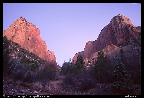 Middle Fork of Taylor Creek, one of  Finger canyons, sunset. Zion National Park (color)