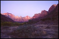 Towers of the Virgin from behind  Museum, dawn. Zion National Park, Utah, USA.