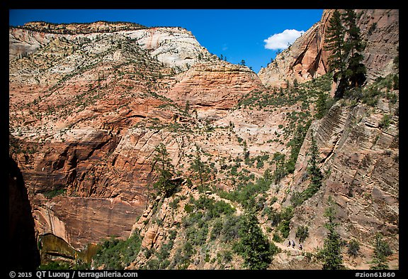 Distant hikers on Hidden Canyon trail. Zion National Park (color)