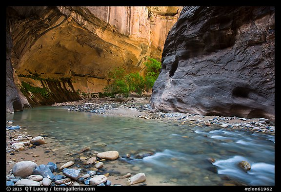 Virgin River and glowing alcove. Zion National Park (color)