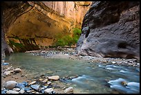 Virgin River and glowing alcove. Zion National Park ( color)