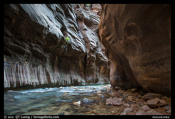 Tunnel passage in the Narrows. Zion National Park (color)