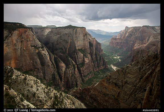 Thunderstorm over Zion Canyon from above. Zion National Park (color)