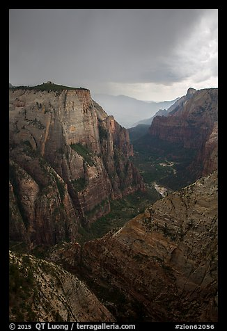 Dark storm clouds over Zion Canyon. Zion National Park (color)