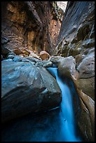 Cascade and boulder in Orderville Canyon. Zion National Park ( color)