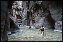 Hikers in the Narrows below Orderville Junction. Zion National Park ( color)