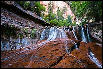 Waterfall over red travertine in the spring. Zion National Park ( color)