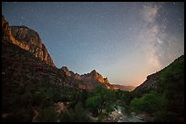 Virgin River, Watchman, and Milky Way. Zion National Park, Utah, USA.